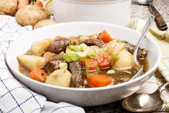 Irish stew in a deep white plate Royalty Free Stock Images