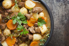 Irish Stew. Made with lamb, stout, potatoes, carrots and herbs Royalty Free Stock Photos