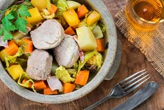 Irish stew with pork and vegetables cooked in cider - top view stock photography