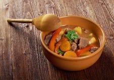 Irish stew with tender lamb meat. Irish stew farm-style  with tender lamb meat, potatoes and vegetables Stock Photos
