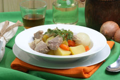 irish stew in a white bowl Royalty Free Stock Image