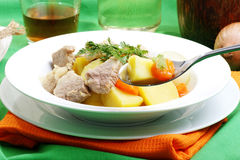 irish stew in a white bowl Royalty Free Stock Images