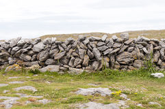 Irish stonewall. Rocks forming a stonewall between fields in Ireland.  County Claire Royalty Free Stock Photography