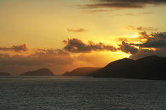 Irish sunset. Sunset over islands in Co. Kerry Royalty Free Stock Photography