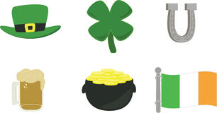 Irish symbols icon set. An icon set of Irish symbols including a hat, clover, horseshoe, mug of beer, pot of gold and Irish flag Stock Illustration