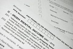 Irish tax form. Personal income tax form. Stock Image