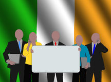 Irish team with flag Stock Photo