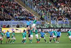 Irish touche. A touche during the rbs six nations rugby match italy vs ireland played at rome.7/2/2015 Stock Photo