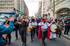 Irish artists performing on saint Patrick Day Stock Photos