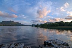 Irish Twilight Sunset over Lough Leane Lake Leane on the Ring of Kerry in Killarney Ireland. Irish Twilight Sunset over Lough Leane Lake Leane on the Ring of royalty free stock images