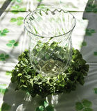 Irish vase. Table decoration for St. Patrick's day Royalty Free Stock Images