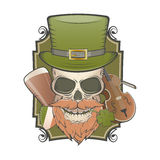 Irish vintage skull Royalty Free Stock Image