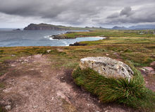 The Irish West coast on a windy day. The Irish West coast near Clogher, Dingle, on a stormy and cloudy day stock photography