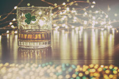 Irish Whiskey St Patricks Clover Golden Glow Stock Photos