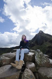 Irish woman at The Giants Causeway Stock Images