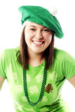 Irish young lady dressed for st patricks day. Irish young lady dressed for a st patricks day celebration Royalty Free Stock Image
