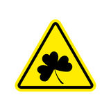 Irishman Warning. Clover on yellow triangle. Road sign attention. Shamrock Royalty Free Stock Photo