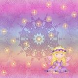 Irisierender Hintergrund mit der Fee und den Sternchen Vektor Abbildung