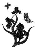 Irissen en vlinders, silhouet Royalty-vrije Stock Fotografie