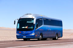 Irizar i6. ANTOFAGASTA, CHILE - NOVEMBER 17, 2015: Blue coach bus Irizar i6 at the interurban road Stock Photo
