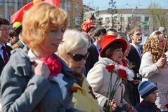 Irkoetsk, Rusland - Mei 9, 2015: Ingezetenenoptocht op Victory Day Celebration in Irkoetsk Royalty-vrije Stock Foto