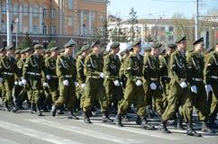 Irkoetsk, Rusland - Mei 9, 2015: Kolom van Afdeling Voor speciale doeleinden op Victory Day Celebration Stock Foto