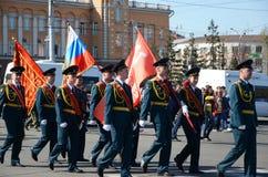 Irkoetsk, Rusland - Mei 9, 2015: Kolom van de kadetten van Raketkrachten op Victory Day Celebration in Irkoetsk Royalty-vrije Stock Foto's