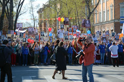 Irkoetsk, Rusland - Mei 9, 2015: Onsterfelijke regimentsoptocht in Irkoetsk op Victory Day Celebration Royalty-vrije Stock Afbeelding