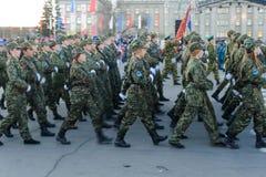 IRKOUTSK, RUSSIE - 7 MAI 2015 : Défilé de répétition Image libre de droits