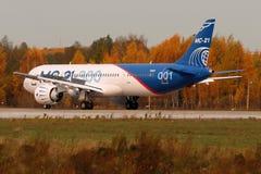 Irkut MS-21 73051 pierwszy latający pierwowzór nowy Rosyjski cywilny samolotu lądowanie przy Ramenskoe lotniskiem po lota od Irku Obraz Royalty Free