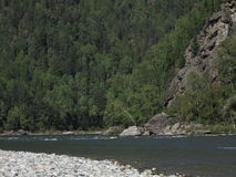 Irkut river, Sayan mountains, Siberia, Russia, Siberian landscapes Stock Images