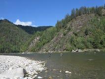Irkut river, Sayan mountains, Siberia, Russia, Siberian landscapes Royalty Free Stock Image
