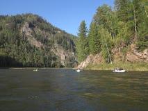 Irkut river, Sayan mountains, Siberia, Russia, Siberian landscapes Royalty Free Stock Photos