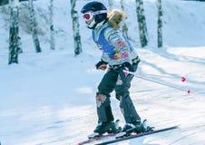 Irkutsk, Rússia - 12 de fevereiro de 2017: Competição do slalom snowboar Imagens de Stock Royalty Free