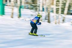 Irkutsk, Rússia - 12 de fevereiro de 2017: Competição do slalom snowboar Fotos de Stock Royalty Free