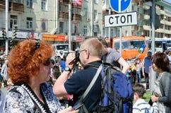 Irkutsk, Rússia - junho, 01 2013: Os residentes de Irkutsk comemoraram o dia da cidade Fotografia de Stock Royalty Free