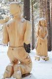 Irkutsk region, Jan, 03 2015: Danko Park drewniane rzeźby w Savvateevka wiosce Zdjęcie Stock