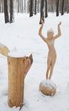 Irkutsk region, Ryssland-Januari, 03 2015: Flicka på bollen Parkera av träskulpturer i den Savvateevka byn Royaltyfria Foton