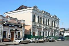 Irkutsk, Rosja, Marzec, 16, 2017 Irkutsk kąt dom budował przed rewolucją przy 41/1 Karl Marx ulicami Dalej, Fotografia Stock