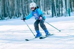 Irkutsk, Rusia - 12 de febrero de 2017: Competencia del eslalom snowboar Fotos de archivo libres de regalías