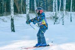 Irkutsk, Rusia - 12 de febrero de 2017: Competencia del eslalom snowboar Imagen de archivo