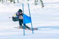 Irkutsk, Rusia - 12 de febrero de 2017: Competencia del eslalom snowboar Imagenes de archivo