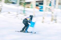 Irkutsk, Rusia - 12 de febrero de 2017: Competencia del eslalom snowboar Fotografía de archivo