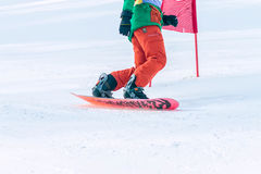 Irkutsk, Rusia - 12 de febrero de 2017: Competencia del eslalom snowboar Foto de archivo