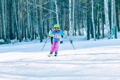 Irkutsk, Rusia - 12 de febrero de 2017: Competencia del eslalom snowboar Imagen de archivo libre de regalías