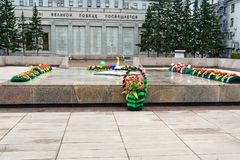 Memorial to the fallen of the Second World War is located in front of the Irkutsk. Russia. Irkutsk, Russia - August 14, 2017: Eternal flame. Memorial to the Stock Images