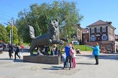 Irkutsk, Russia, August, 29, 2017. People walking near Babr - the symbol of the city of Irkutsk in summer. Irkutsk, Russia. People walking near Babr - the symbol royalty free stock image