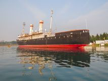 View of the ship, the Angara icebreaker museum, from the lake royalty free stock images