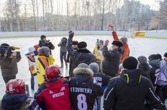 Irkutsk, Russia - dicembre, 09 del 2012: L'apertura di nuova pista di pattinaggio nella città di Irkutsk Fotografia Stock