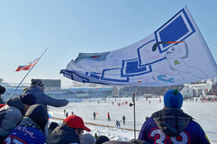 Irkutsk, Russia - Feb, 26 2012: Jubilant fans and a flag in the stands during the bandy match Royalty Free Stock Images